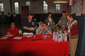 Junior Fire Company members at the welcome table