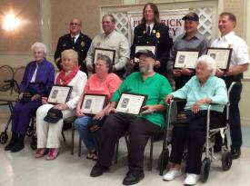 "Hall of Fame Winners.  Standing in the back row are (left to right) Martin Fuller, Dennis Mathias, James Goodman, Charles ""Eddie"" Lapole, Jr. and Matthew Staley.  Seated in front row from left to right are Dorothy Moss, Betty White, Debbie Perkins, Ronnie Eyler and Lorraine Ferrell."