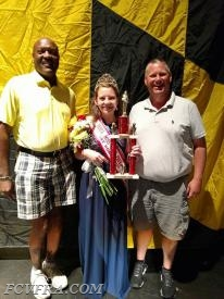 FCVFRA President Eric Smothers and Volunteer Chief Kevin Fox congratulate Brieanne Combs.