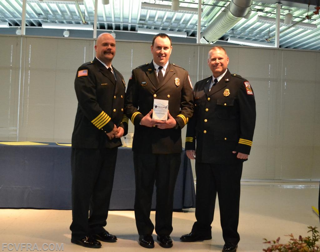 Pictured left to right are Vigilant Hose Co. Chief Chad Umbel, Alex McKenna and Volunteer Services Director  Kevin Fox.   Photo courtesy of N. Burriss.