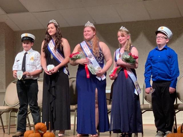 Outgoing Junior Chief Jacob Nalborczyk, far left,  and the previous Fire Prevention Junior Miss Ashley Nalborczyk attended the ceremony. Also pictured are this year's ambassadors Meaghan Andrews,  Elizabeth Schuebel and Kamerin Jenkins.