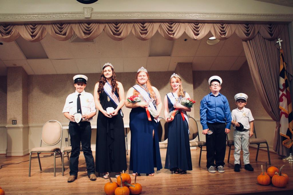 Previous ambassadors from left Jacob Nalborczyk and Ashley Nalborczyk attended the ceremony to support the new team including Miss Fire Prevention  Meaghan Andrews. Junior Miss Fire Prevention Elizabeth Schubel, Junior Fire Chief Kamerin Jenkins and Little Fire Chief Devin Youngerman.