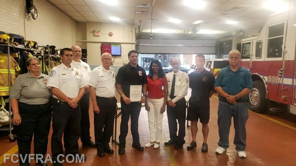 Presentation of Award. Pictured left to right are Joyce Shry, EMS  B/C Michael Cole, Chief Tom Coe, Volunteer Director Shane Darwick, Volunteer Ja'Montrez Williams,  Fox 5 Anchor Gwen Tolbert, President Charles Albrecht, Junior's Asst. Chief Ben Lowry and Junior's Chief Keith Brown.