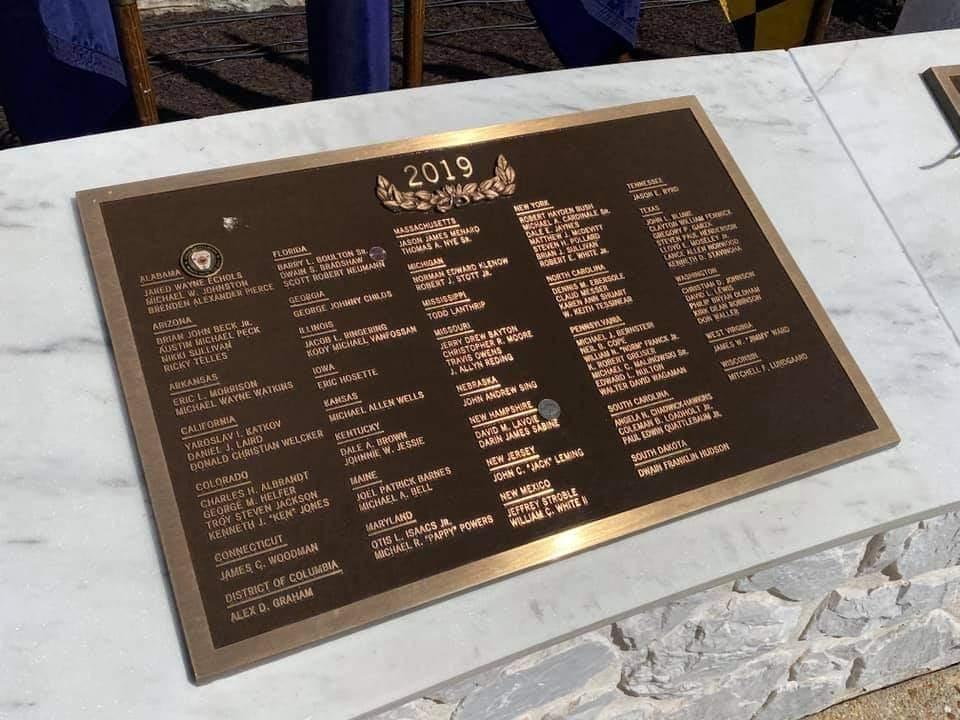 Libertytown Firefighter Michael Powers' name is included on a plaque at the National Fallen Firefighter Memorial in Emmitsburg. (Photo by Claudia Garner)